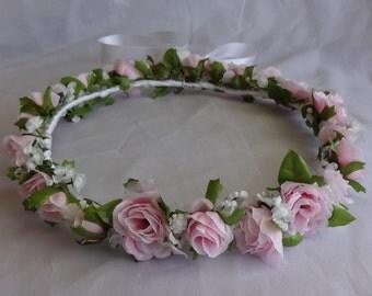 Bridal Hair Wreath Flower Crown Flower Girl  Wedding Pink Rose Headpiece