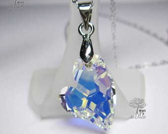 925 Sterling Silver Necklace with a Swarovski Crystal AB Devoted to U Heart Pendant