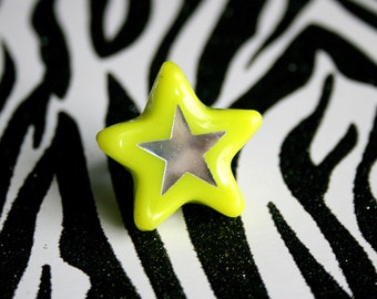 Lime Green Star Ring, Neon Resin Adjustable Jewelry