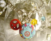 Colorful Groovy Flower Power Peace Cat in Blue Charm Drop or Starter Charm Bracelet