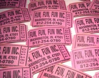Vintage Fun, Fun, Fun Inc. Pink Tickets Washington, Indiana Never Used Set of 22