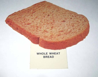 Vintage 1970s Food or Nutrition Die Cut Cardboard School Decoration of Whole Wheat Bread