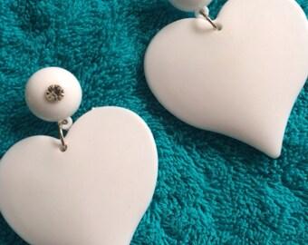 white  valentines oversized earring post stud dangle heart theme lovers love barbie doll dress u