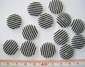 28pcs of  Black on White Stripe  Button - 18mm