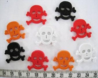 20 pcs of Halloween  Skull  Button - Black White Red Orange - Medium 25mm
