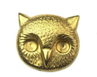 Stamping Large Owl Head Bird Raw Brass 25x23mm (2) FI644