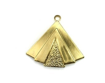 Layered Triangle Large Charm or Pendant Large Raw Brass (1) CP232