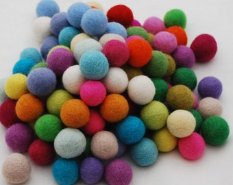 2.5cm - 100% Wool Felt Balls - 100 Count - Assorted Light and Bright Colors