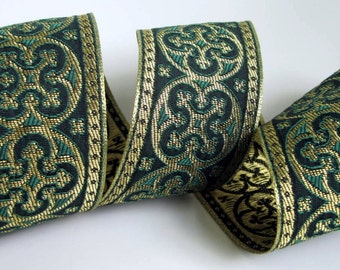 2 yards  BYZANTINE Jacquard trim in metallic antique gold and Kelly green. 1 5/8 inch wide. 958-T