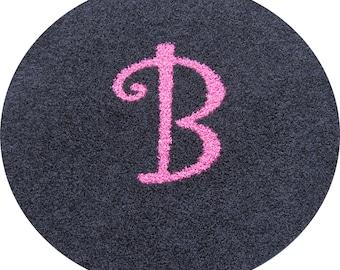 Custom 4ft Initial Monogram Personalized Carpet Rug...You choose shape & colors