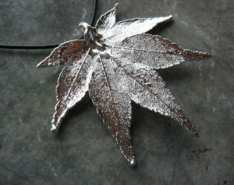 Sale - Free US Shipping - Real Leaf Pendant Necklace - Japanese Maple - Sterling Silver