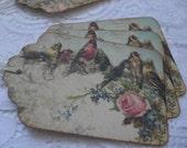 Handmade Vintage Inspired Bird Gift Tags - Shabby Chic