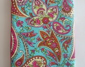 Passport cover or cozy in pretty turquoise paisley fabric