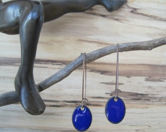 Cobalt Drop Earrings, Oval Dangle Earrings, Copper Enamel, Blue Oval Drop, Blue Oval Chandelier Earrings