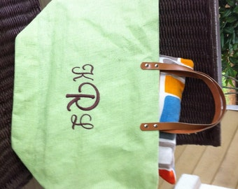 Lime Monogrammed / Personalized Large Jute Tote Bag