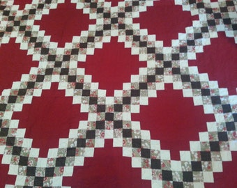 PRICE REDUCED Brown and red king size triple Irish chain quilt