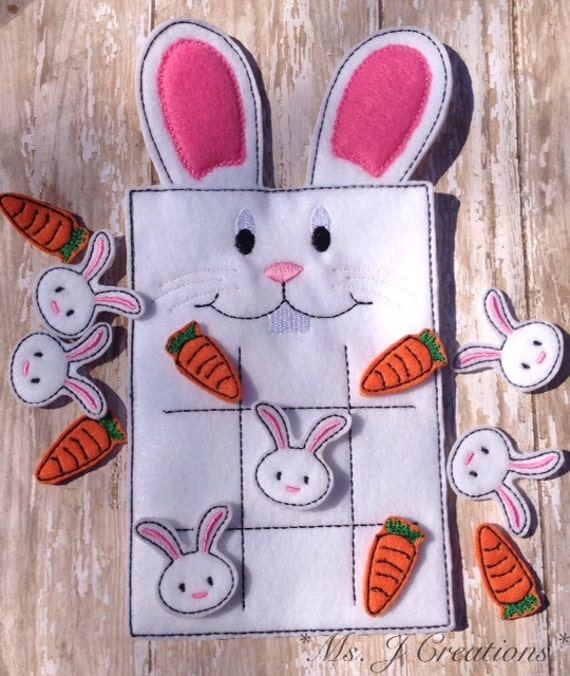 Easter Bunny Felt Tic Tac Toe Game Toy Fun Kids By