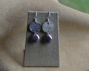 PMC Disc Shimmering Mauve Coin Pearl Earrings