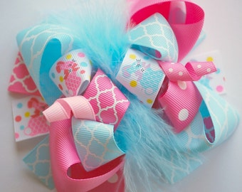 boutique FUNKY fun LITTLE BUNNY easter hair bow clip
