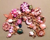 """Valentines Day Sale Vintage Charm Bracelet """"Bold in Pink"""" Assemblage  Upcycled Altered Art Repurposed"""