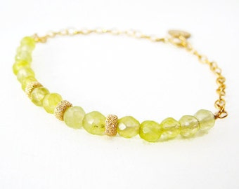 Dainty Bracelet, Green Jade Faceted Gemstone 14kt Gold Filled, Dangles, Layering, Friendship, Bridal Party Wedding