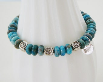 Gemstone Bracelet Teal Paisley Jasper sterling silver flowers stacking friendship fashion jewelry Wedding Bridal