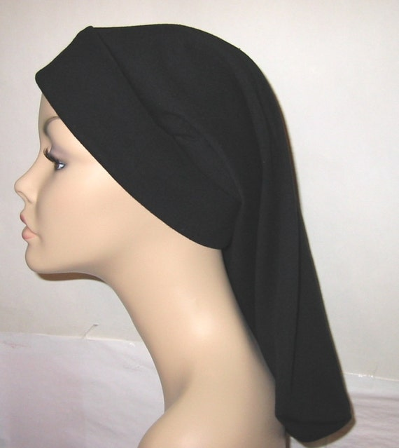 Womens Black Basic  Snood, Hijab, Hair Loss, Chef Hat