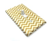 gold home Decor Gold Shimmer Chevron Light Switch Cover Cream and Golden Metallic Decorative Switch Plate