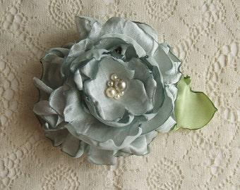 Rose~ Hair Clip~ Handmade~Sea Foam~Crinkle Satin ~Gator Clip