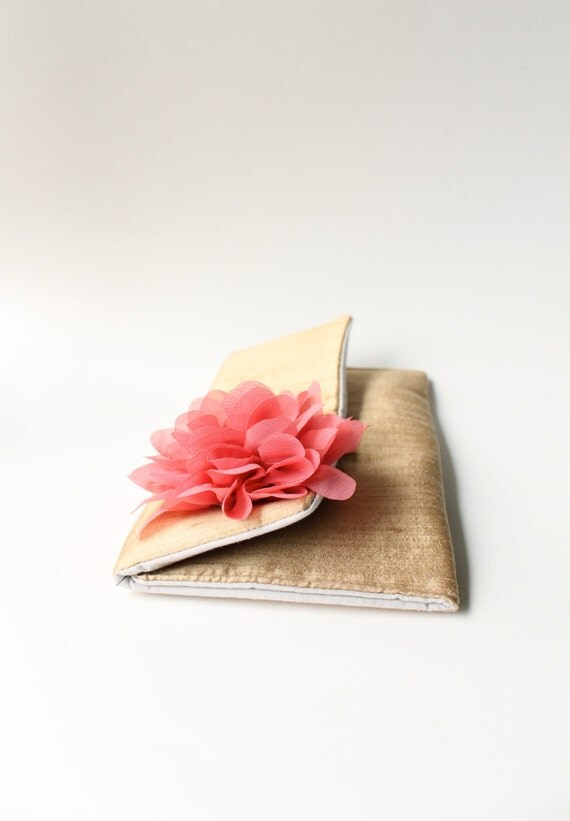 SALE - Gold Silk Bridal Clutch, Wedding Purse, Bridesmaid Clutch, Gold and Coral or Mint, Navy, Ivory