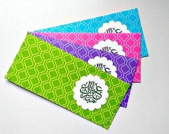 4 Arabesque Eid Eidiya Money Envelopes, Gift Card Holders, Eid Favors, Colorful Envelopes, Kids Money, Holiday Envelope, Gift Envelope