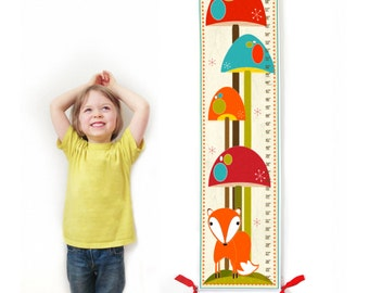 Kids Growth Chart / Ruler / Measure / Children's Wall Art - Fox in Mushroom Forest -  May be Personalized / Also available in Metric