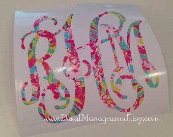 Lulu Inspired Lilly Printed Vinyl Monogram
