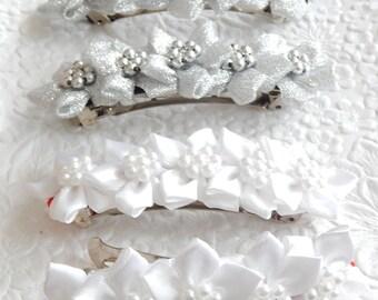 Silver floral barrette,  hair barrette,white floral barrette, fashion accessory, womens accessory, bridal barrette