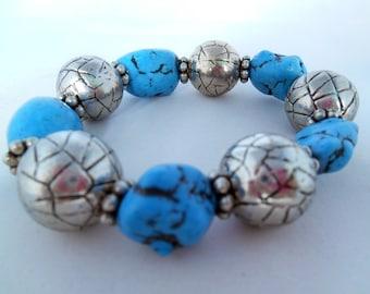 Turquoise Bracelet- Vintage Look -Light Blue - Antique Silver - Shappy Chic - Semiprecious Stone Beads - Gift Idea  - Summer Bracelet