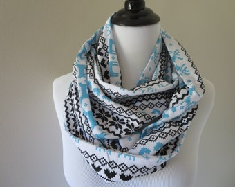 Fair Isle Scarf - Reindeer Scarf - Turquoise & Charcoal Infinity Scarf - Winter Scarf - Christmas Scarf