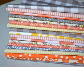 Gray, Orange and Yellow Cloth Napkin Bundle-  set of 10- Wedding, Restaurants, Everyday Meals by Dot and Army