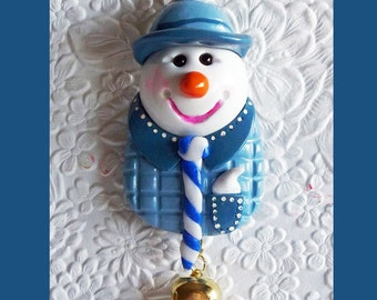 Christmas Snowman Magnet Light Blue