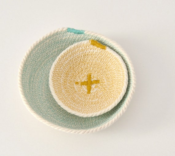 Cotton cord basket aquamarine and mustard – Mediterranean style – Natural home décor – key holder bowl – Bread basket – Beach house decor