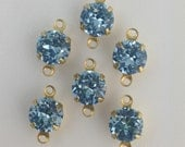 Vintage Light Sapphire Faceted Glass Stone 2 Loop Brass Setting Drops 7mm (6) rnd001JJ2