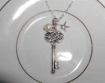 Silver Key Necklace, sterling starfish, pearl
