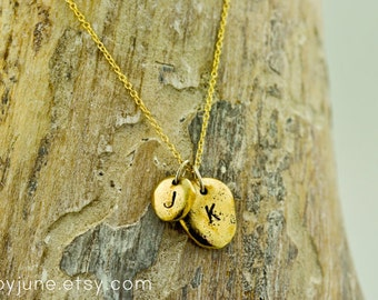 Bronze and Gold Pebbles Necklace | Charm Necklace | Charm Jewelry