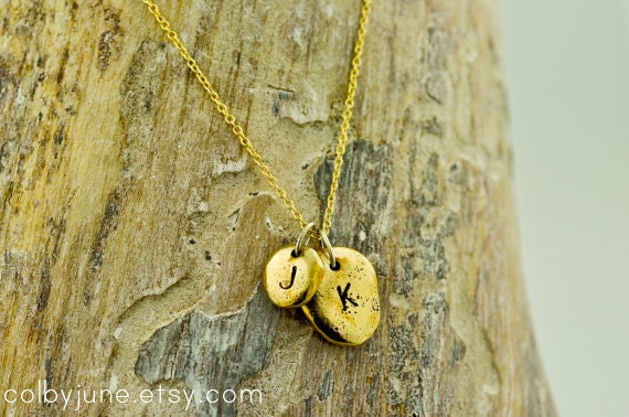 Bronze and Gold Pebbles Necklace