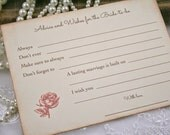 Advice Cards Wish Cards Bridal Shower Bride to Be Wishes Set of 10 Pink Roses Floral
