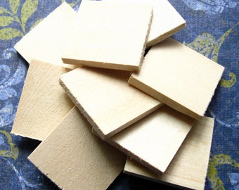 """Square Wood Tiles - Set of 30 - 29x29mm - 1 1/8"""" - Unfinished Basswood Tiles, Pendant Blanks"""