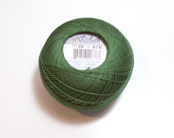 Lizbeth Tatting Thread, Cotton Crochet Thread, Dark Leaf Green, Color number 676, Green Thread, Choose a Size 10, 20, 40, 80