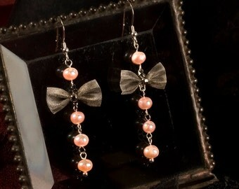 Sterling Silver ear wires/hooks with silver tone mesh bows and genuine pearls in soft pink - OOAK andGreat for Holiday