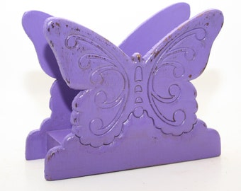 Butterfly Napkin Holder  or Paper Organizer Upcycled Vintage Wood Distressed Purple Shabby
