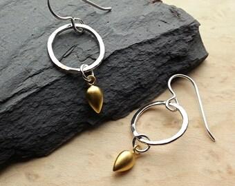 Fine Silver Hoops with 24K Gold Teardrop Dangle Earrings, Silver and Gold Dangles, 24K Gold Plated Sterling Silver Earrings