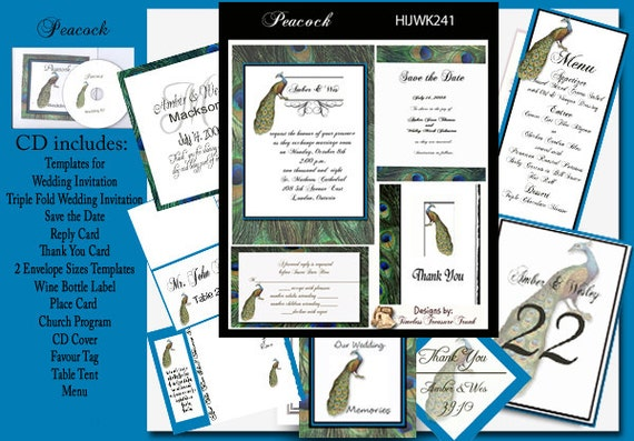 Peacock Wedding Invitations Template: Delux Peacock Wedding Template Kit On CD